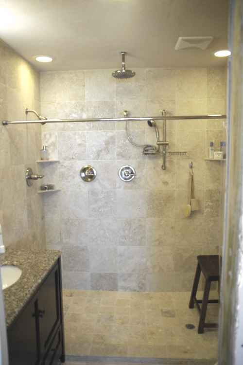 Superior All Stone Custom Master Bath With A Walk In, 6 Foot, Triple Head Shower